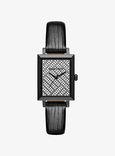 Harway Pavé Gunmetal-Tone and Embossed-Leather Watch by Michael Kors