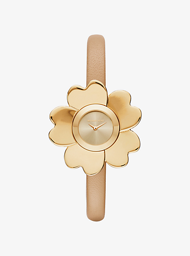 Mena Gold-Tone and Leather Floral Watch by Michael Kors