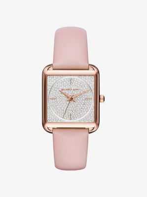 Lake Pavé Rose Gold-Tone and Leather Watch by Michael Kors