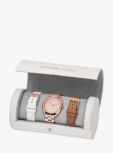 Austauschbares Armbanduhrset Libby im Rosé-Goldton mit Pavé-Fassung by Michael Kors