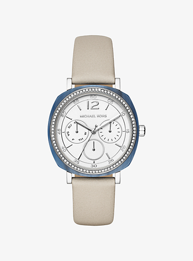 Armbanduhr Nia im Silberton mit Lederarmband by Michael Kors
