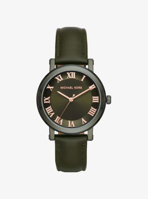 Michael Kors Norie Olive-Tone and Leather Watch,OLIVE