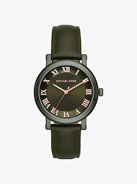 Norie Olive-Tone And Leather Watch