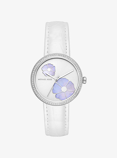 Mini Courtney Pave Embossed Leather Watch