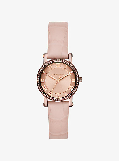 Petite Norie Pave Sable-Tone Embossed Leather Watch