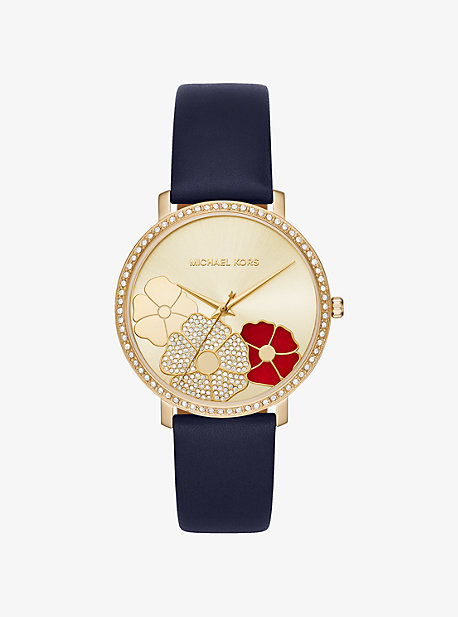 Jaryn Pave Gold-Tone Leather Watch