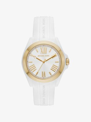 Michael Kors Bradshaw Gold-Tone and Silicone Watch,WHITE
