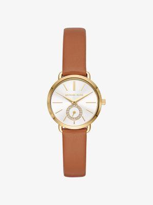마이클 코어스 가죽 시계 Michael Kors Petite Portia Gold-Tone Leather Watch,GOLD