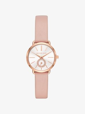 Michael Kors Petite Portia Rose Gold-Tone Leather Watch,ROSE GOLD