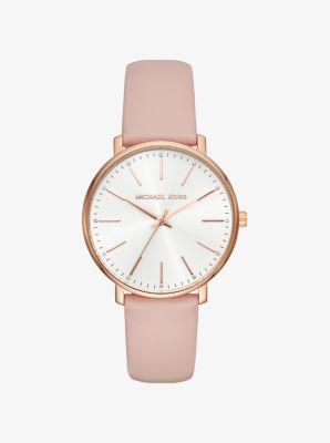 마이클 코어스 가죽 시계 Michael Kors Pyper Rose Gold-Tone Leather Watch,ROSE GOLD