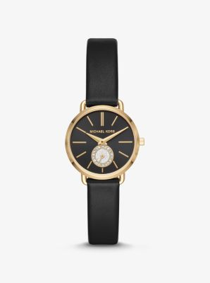 Michael Kors Petite Portia Gold-Tone and Leather Watch,GOLD