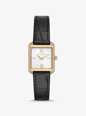 Michael Kors Lake Crocodile-Embossed Leather Watch,GOLD