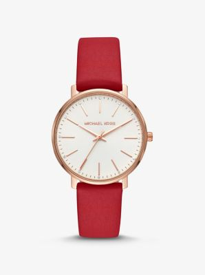 Michael Kors Pyper Rose Gold-Tone and Leather Watch,RED