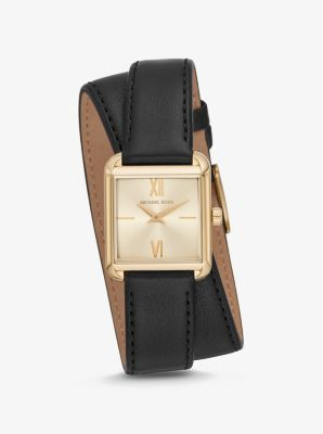 Michael Kors Lake Gold-Tone and Leather Wrap Watch,BLACK
