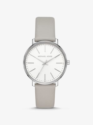 Michael Kors Pyper Silver-Tone and Leather Watch,GREY