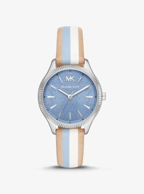 Michael Kors Lexington Silver-Tone and Striped Leather Watch,BLUE