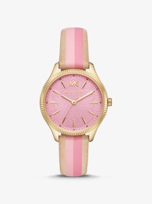 Michael Kors Lexington Gold-Tone and Striped Leather Watch,PINK