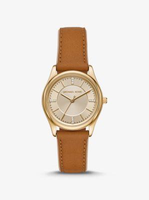 마이클 코어스 손목시계 Michael Kors Colette Gold-Tone and Leather Watch,LUGGAGE