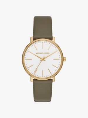 Michael Kors Pyper Gold-Tone and Leather Watch,OLIVE