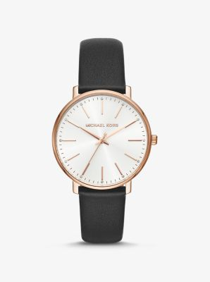Michael Kors Pyper Rose Gold-Tone and Leather Watch,BLACK