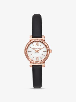 Michael Kors Petite Sofie Leather and Rose Gold-Tone Watch,BLACK