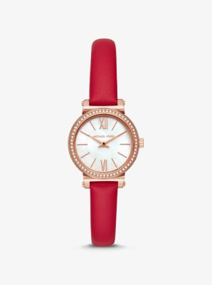 Michael Kors Petite Sofie Leather and Rose Gold-Tone Watch,RED