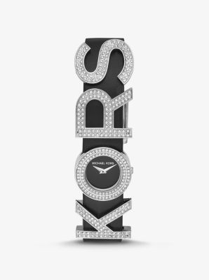 Michael Kors Pave KORS-Embellished Leather Watch,SILVER