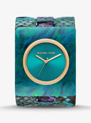 Michael Kors Willa Python-Embossed Leather and Marbled Acetate Watch,PURPLE