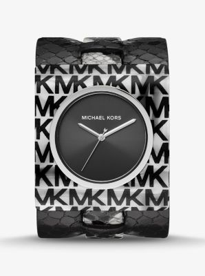 Michael Kors Willa Python-Embossed Leather and Logo Acetate Watch,BLACK