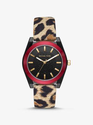 Michael Kors Channing Leopard-Print Leather Watch,LEOPARD