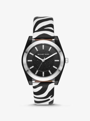Michael Kors Channing Zebra-Print Leather Watch,ZEBRA