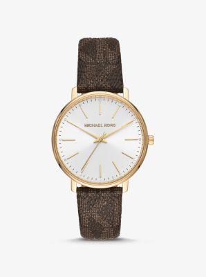 마이클 코어스 골드톤 손목시계 - 브라운 Michael Kors Pyper Logo and Gold-Tone Watch,BROWN