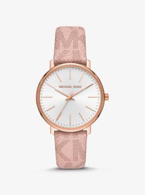 Michael Kors Pyper Logo and Rose Gold-Tone Watch,PINK