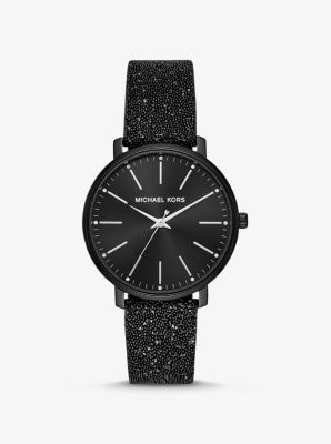 마이클 코어스 손목시계 Michael Kors Pyper Black-Tone Swarovski Crystal Embellished Watch,BLACK