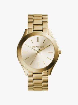 Michael Kors Slim Runway Gold-Tone Stainless Steel Watch,GOLD