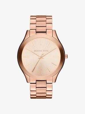 Michael Kors Slim Runway Rose Gold-Tone Watch,ROSE GOLD