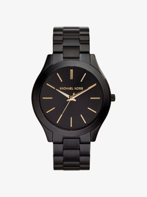 마이클 코어스 메탈 시계 Michael Kors Slim Runway Black Stainless Steel Watch,BLACK