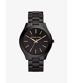 Slim Runway Black Stainless Steel Watch