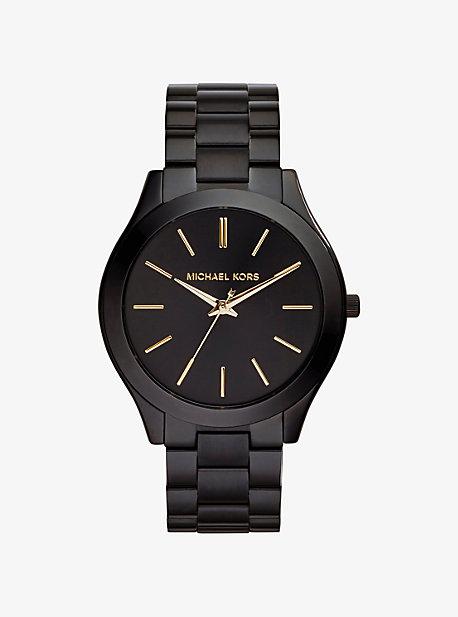 Slim Runway Black Stainless Steel Watch