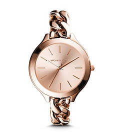 Slim Runway Rose Gold-Tone Stainless Steel Chain-Link Watch