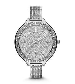 Slim Runway Pave-Embellished Silver-Tone Watch