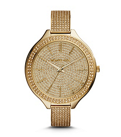 Slim Runway Pave-Embellished Gold-Tone Watch