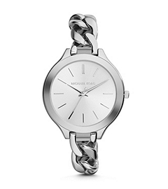 Slim Runway Silver-Tone Stainless Steel Chain-Link Watch