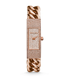 Hayden Pavé-Embellished Rose Gold-Tone Chain-Link Watch