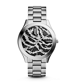 Slim Runway Pavé-Embellished Silver-Tone Stainless Steel Zebra Watch