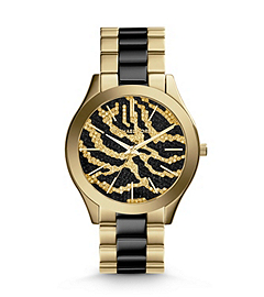 Slim Runway Embellished Gold-Tone Stainless Steel Zebra Watch