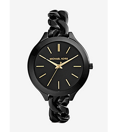 Slim Runway Shiny Black Chain-Link Watch