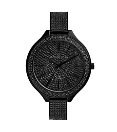 Slim Runway Pavé-Embellished Black Stainless Steel Watch