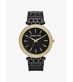 Darci Pavé-Embellished Black-Tone Stainless Steel Watch