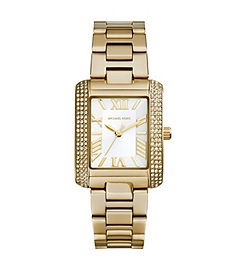 Mini Emery Pavé-Embellished Gold-Tone Stainless Steel Watch